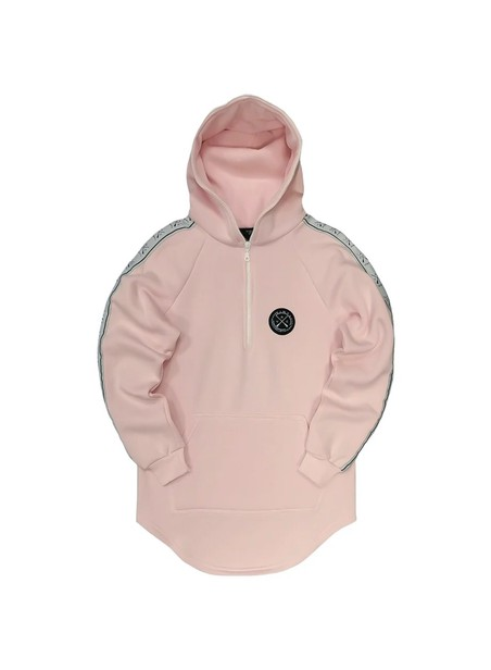 VINYL ART CLOTHING TAPED SIDE HOODIE WITH HALF-ZIP