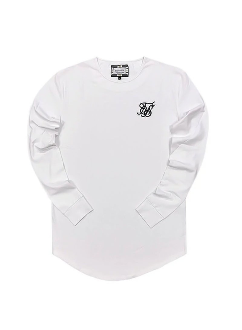 SikSilk Long Sleeve Gym Tee – White