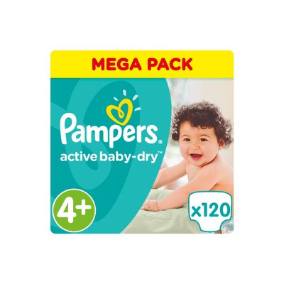Pampers - Active Baby Dry Mega Pack No4+ Maxi+ (9-16 kg) Βρεφικές Πάνες - 120 τεμάχια