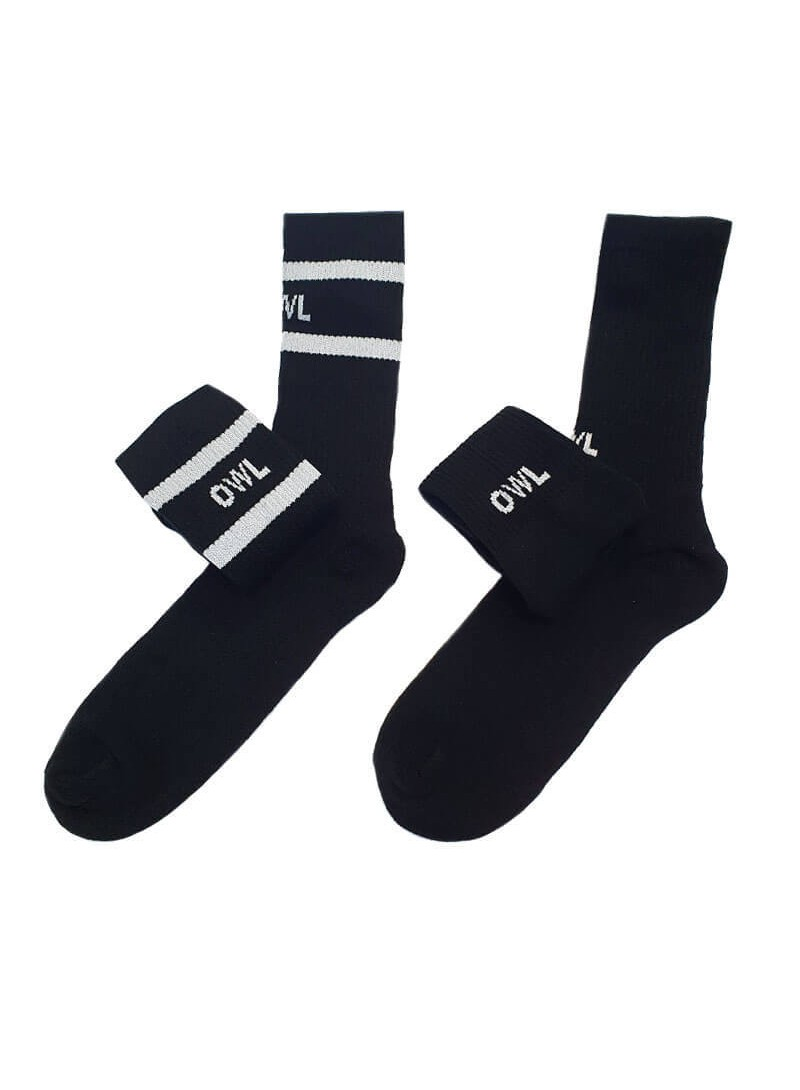 OWL CLOTHES MID SOCKS-2 PACK BLACK FUTURA OWL