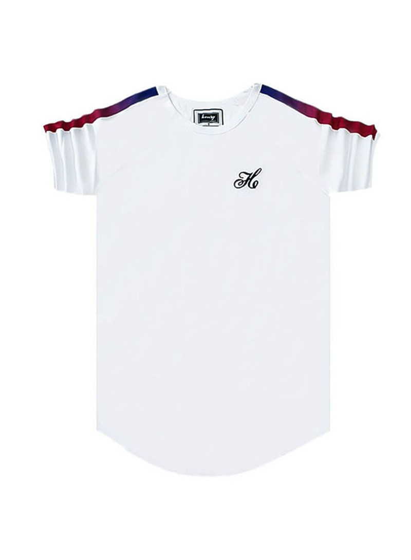 HENRY CLOTHING WHITE T-SHIRT WITH FADE RIBBON