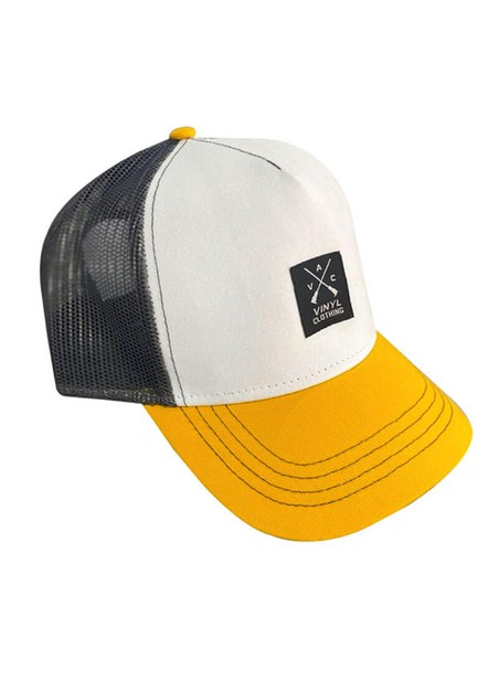 VINYL ART CLOTHING YELLOW/WHITE RAPPER CAP