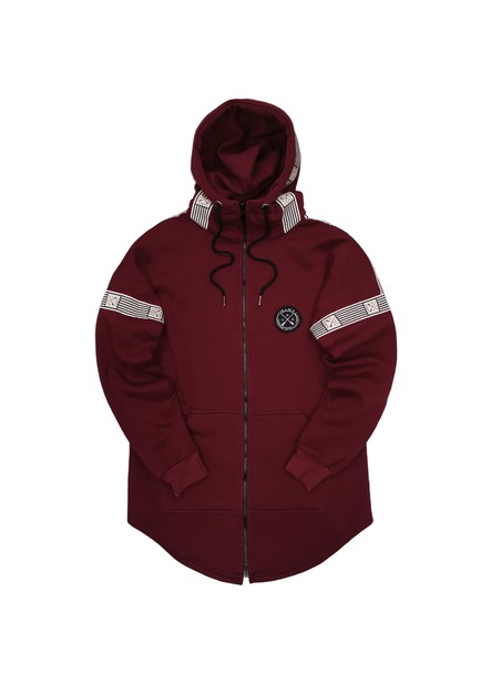 VINYL ART CLOTHING BORDEAUX FULL-ZIP HOODIE WITH STRIPED LOGO TAPE