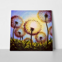 Dandelions against sun painted oil 388162099 a