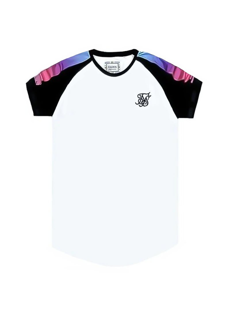 SikSilk S/S Raglan Panel Fade Tech Tee – White