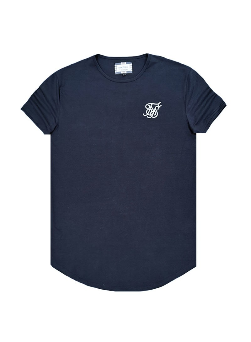 SikSilk Short Sleeve Gym Tee – Navy Blue
