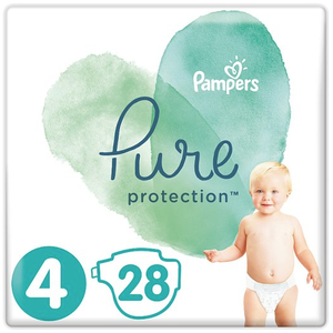 Pampers pure protection panes megethos 4 914 kg 28 panes