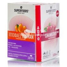 Superfoods Σετ Ιπποφαές Woman, 30 caps & Δώρο Cranberry 5000mg, 15 caps