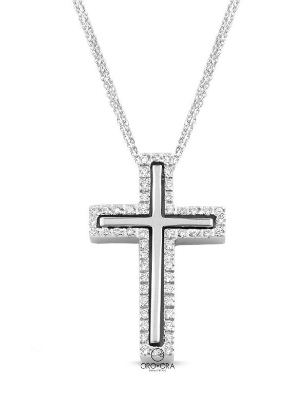 Cross White Gold K14 with Zircon