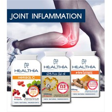 Healthia Joint Inflammation PROMO PACK Herbal C 750mg 60caps & Ω3 Pure Fish Oil 1000mg 90caps & X-tra Turmeric 500mg 60caps.