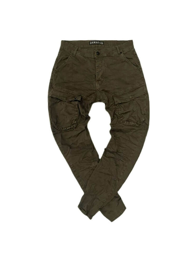 DAMAGED JEANS KHAKI CARGO PANTS R1C