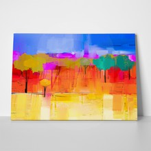 Abstract oil painting of houses a