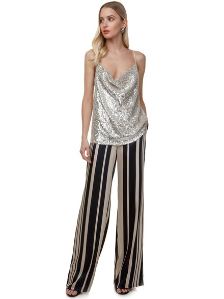 High waisted satin pants