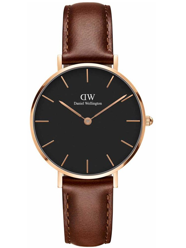 Classic Petite St Mawes Rose Gold Brown Leather Strap