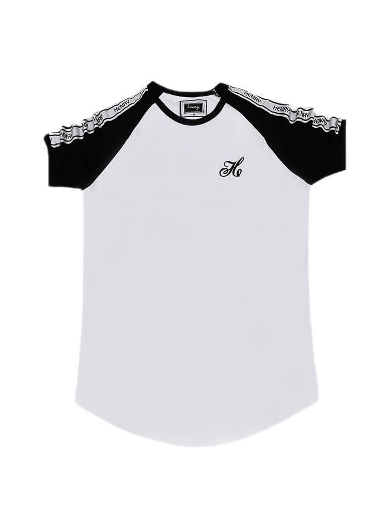 HENRY CLOTHING WHITE T-SHIRT WITH BLACK SLEEVES