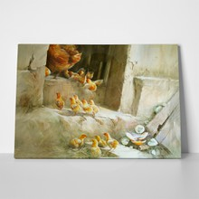 Watercolor chick and mother 286202759 a