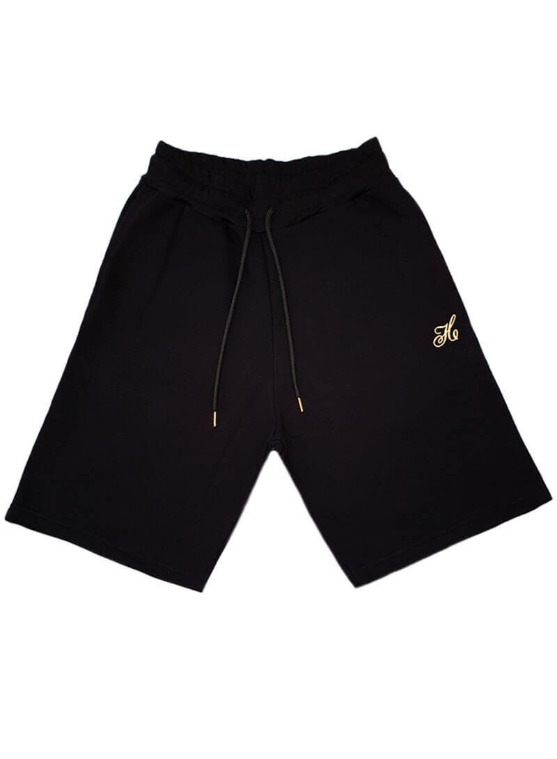 HENRY CLOTHING BLACK GOLD LOGO SHORTS