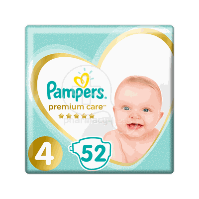 PAMPERS - PREMIUM CARE No4 (9-14kg) - 52 πάνες