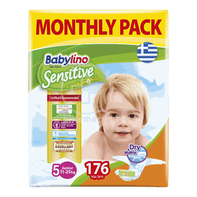 BABYLINO - MONTHLY PACK Babylino Sensitive Junior No5 (11-25 Kg) - 176 πάνες