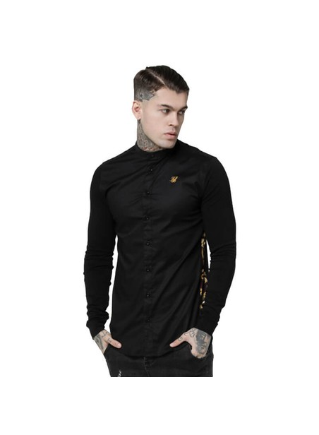 SikSilk  L/S Royal Venetian Muscle Fit Side Shirt – Black & Deep Red
