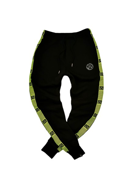 VINYL ART CLOTHING BLACK STRIPED LOGO TAPED PANTS
