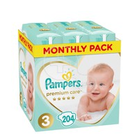 PAMPERS - MONTHLY PACK PREMIUM CARE No3 (6-10kg) - 204 πάνες