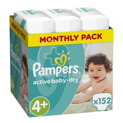 PAMPERS - MONTHLY PACK Active Baby Dry No4+ (9-16kg) - 152 πάνες