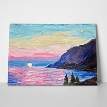 Oil painting pink sunset sea mountains 535344925 a