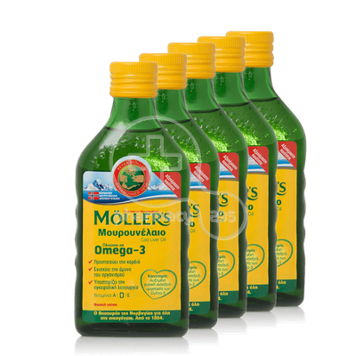 MOLLER'S- Πέντε (5) Τεμάχια Cod Liver Oil Natural Flavour - 5Χ250ml