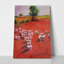 Lambs grazing on meadow 48434638 a