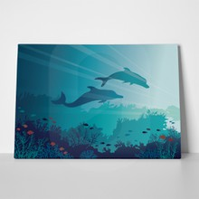 Coral reef dolphins silhouettes 675153481 a