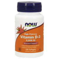 NOW VITAMIN D-3 HIGH POTENCY 2.000 IU, 120 SOFTGELS