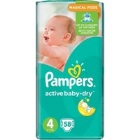 PAMPERS ACTIVE BABY-DRY No4 (8-14 KG) JUMBO PACK (58TEM)