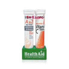 Health Aid A to Z Active Multivitamins & Ginseng with CoQ10 Συμπλήρωμα Διατροφής 20 Tabs + Δώρο Vitamin C 1000mg Orange Συμπλήρωμα Διατροφής 20 Tabs.