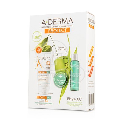 A-DERMA - PROMO PACK PROTECT AC Fluide Matifiant tres Haute Protection SPF50+ (40ml) ME ΔΩΡΟ PHYS-AC Gel Moussant Purifiant (100ml)