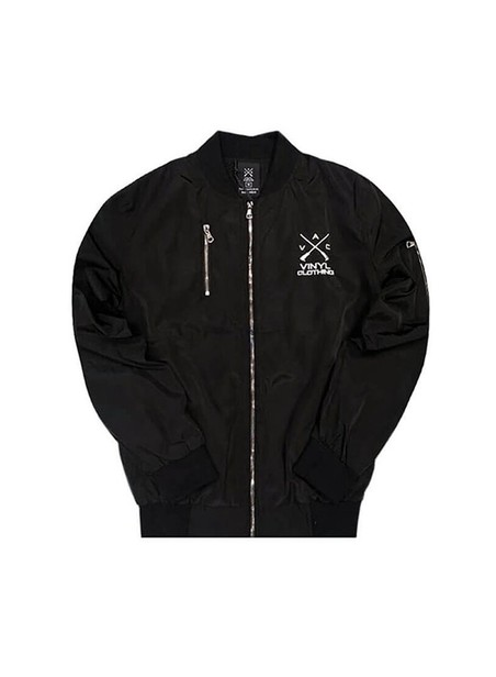 VINYL ART CLOTHING BOMBER JACKET BLACK