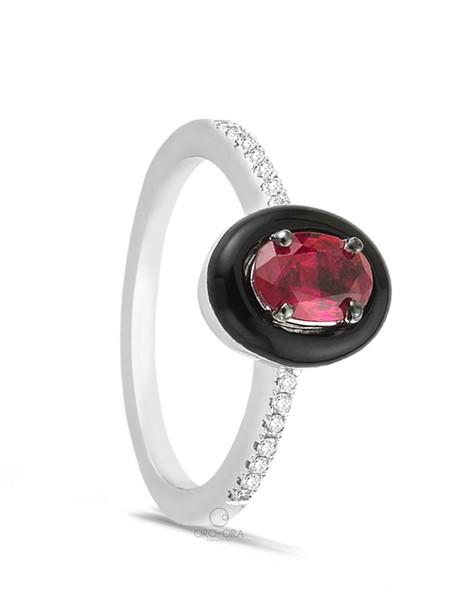Δαχτυλίδι Λευκόχρυσο K18 με Ρουμπίνι ce1384624a3
