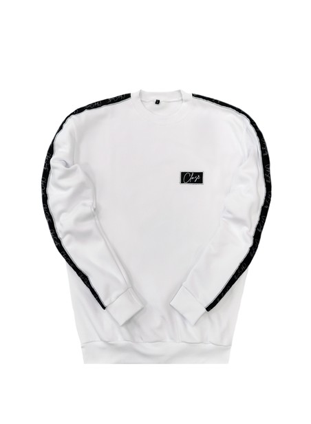 CLVSE SOCIETY WHITE TAPED CREW NECK